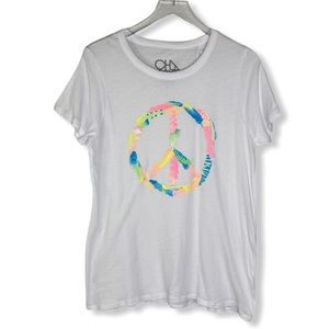 Chaser multi-color feather peace sign t-shirt